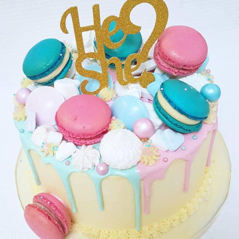 Gender reveal taart roze blauw