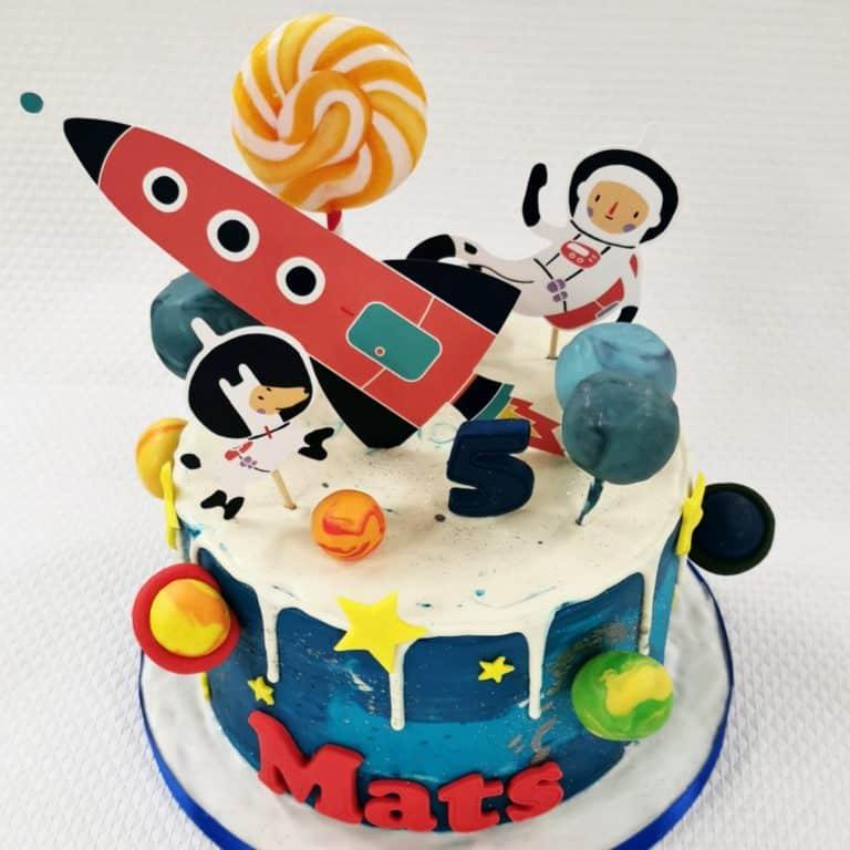 Raket heelal taart Mats